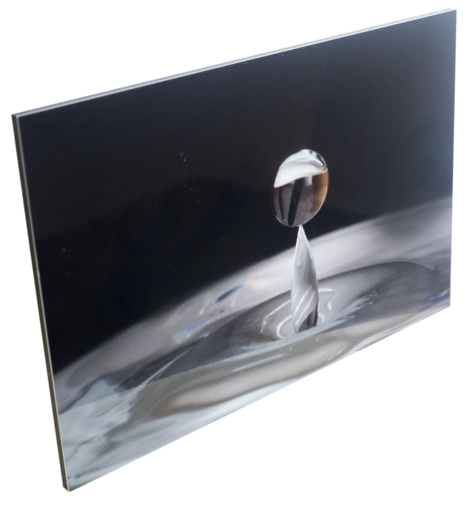 A Gallery Quality Print - Balanced Capture Water Drop in Blue by Joe Zanrè - Aluminum under Acrylic