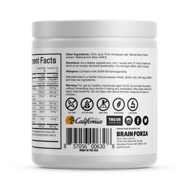 Brain Forza Brain Lift Nootropic Powder Teacrine KSM 66 l-theanine bacopa