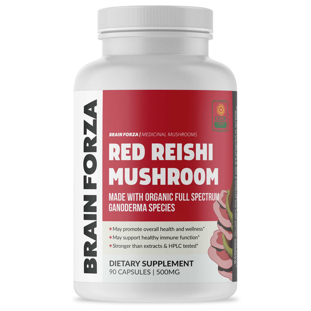 Brain Forza Organic Red Reishi Mushrooms Capsules 500mg Supplement