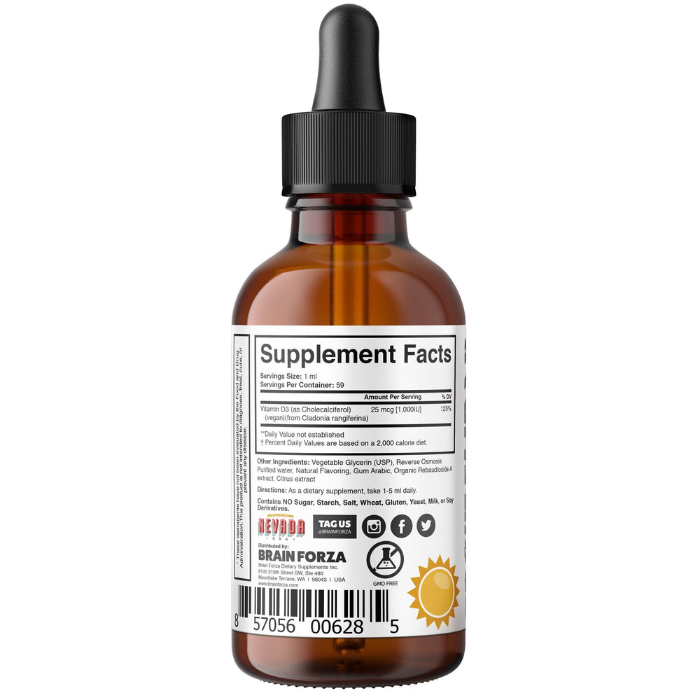 Brain Forza Natural Vegan Vitamin D Liquid Drops 59ml 1000iu