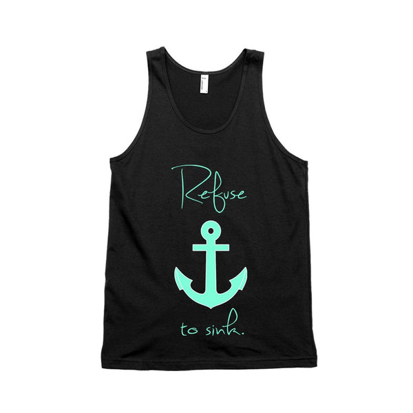 Refuse to Sink Mermaid Turquoise Anchor Unisex Tank Top - Mistico Mimi Wellness Centre & Essential Oils by Mistico Mimi