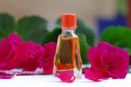 Rose Geranium Floral Water - Essential Oils by Mistico Mimi - Copyright: <a href='http://www.123rf.com/profile_sinat'>sinat / 123RF Stock Photo</a>