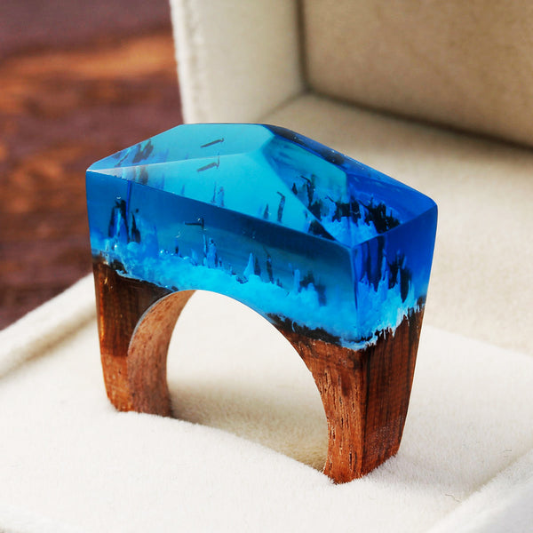 Deep Blue Wood Resin Ring - Mistico Mimi Wellness Centre & Essential Oils by Mistico Mimi