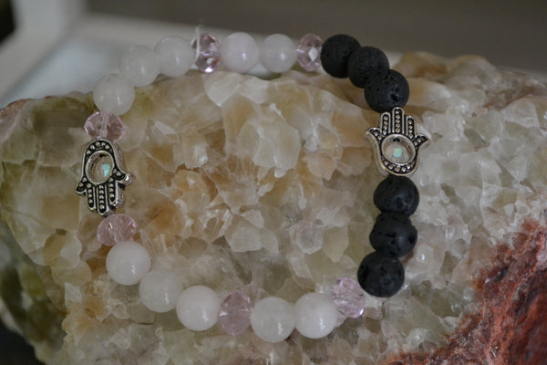 Rose Quartz Hamsa Essential Oil Bracelet - Mistico Mimi Wellness Centre & Essential Oils by Mistico Mimi