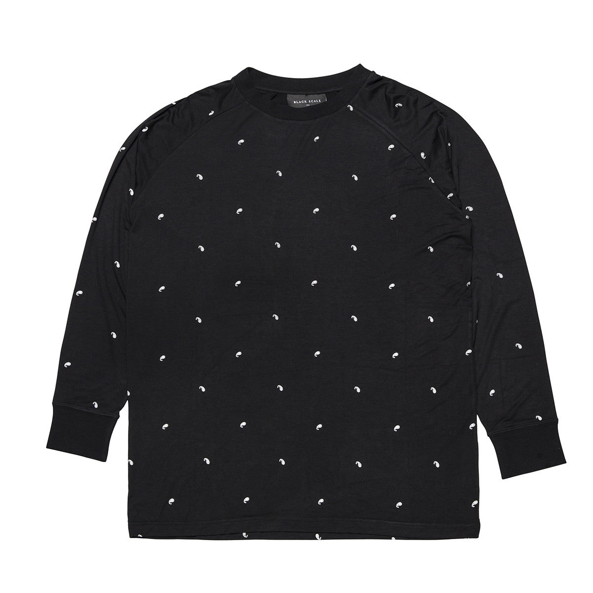 PAISLEY LONG SLEEVE RAGLAN SHIRT BLACK