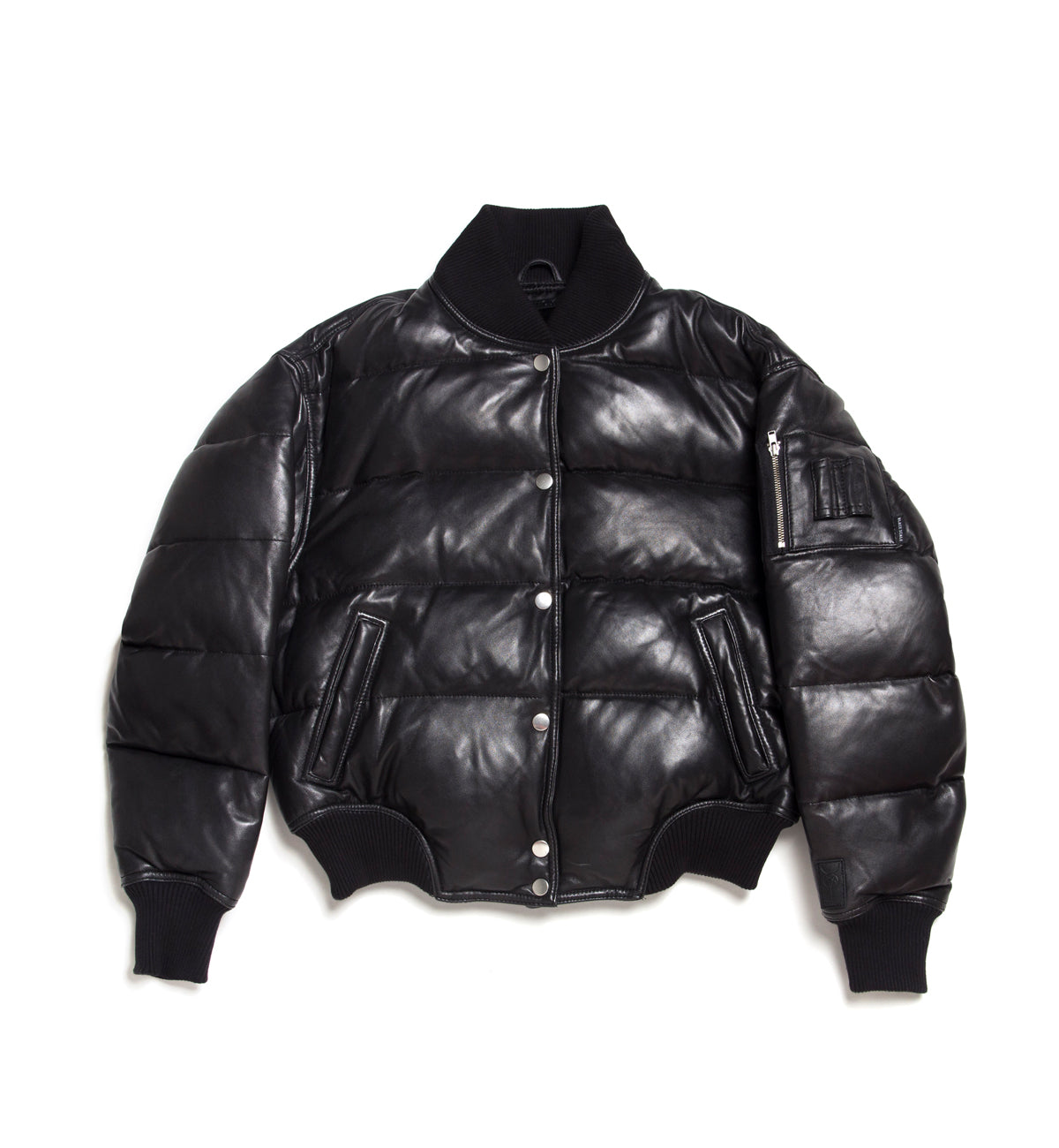 WOMEN'S LEATHER BOMBER JACKET BLACK