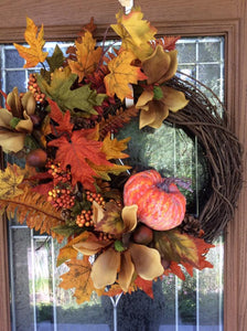 Fall Pumpkin Grapevine Wreath