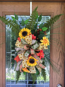 Summer/Fall Floral Door Hanger with Sunflowers