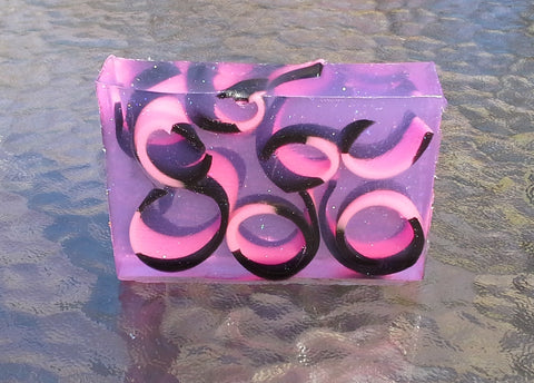 Pink & Black Curls Soap Slice
