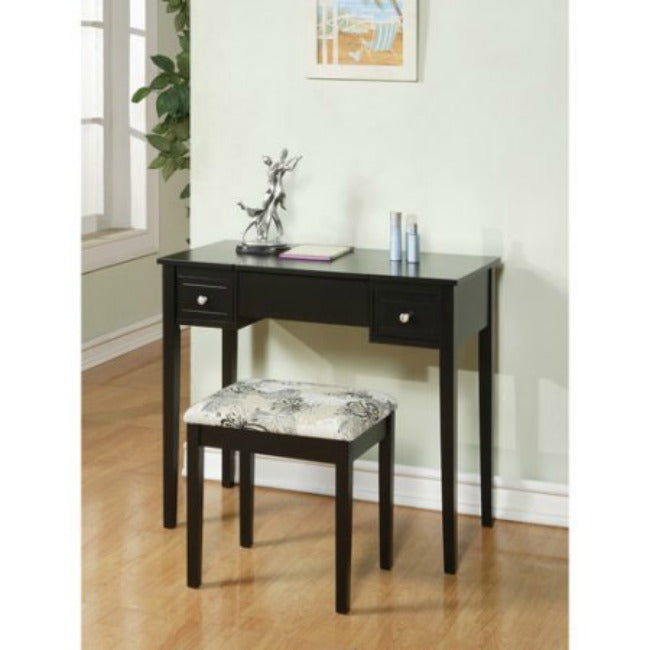 ... Black Vanity Table With Mirror U0026 Stool ...