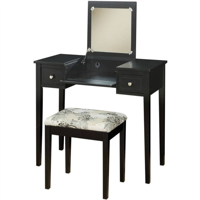 Charming Black Vanity Table With Mirror U0026 Stool