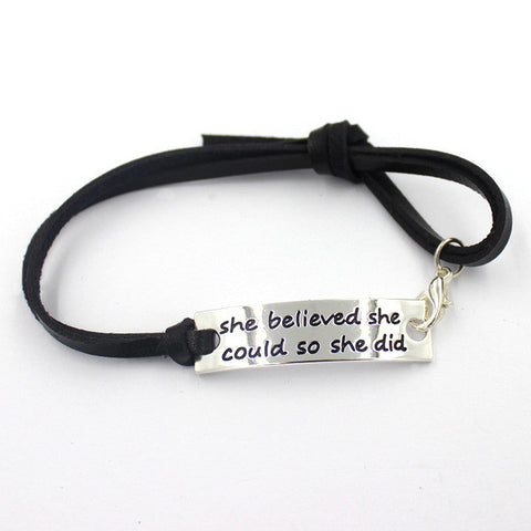 She believed bracelet (black strap)