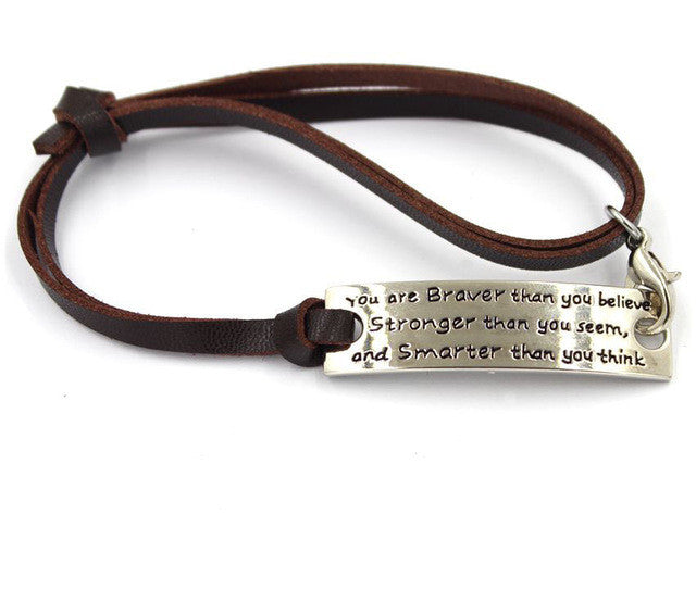 You are Braver than you Believe  (brown strap)