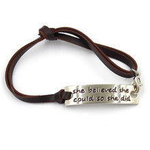 She believed bracelet (brown strap)