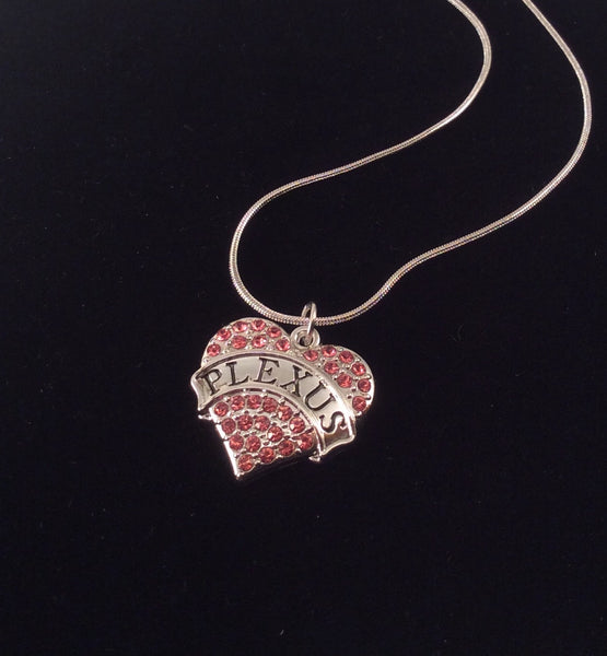 Pink Plexus Crystal Heart Charm Necklace