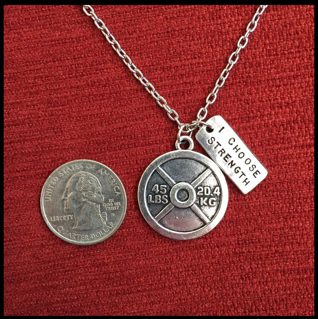 45lb Plate - I choose strength necklace