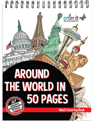 Around the World in 50 Pages Adult Coloring Book