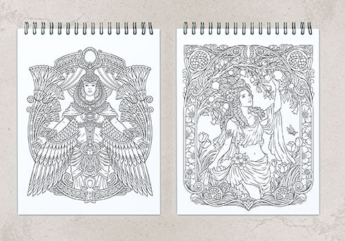 colorit goddesses adult coloring book, 50 hand drawn images