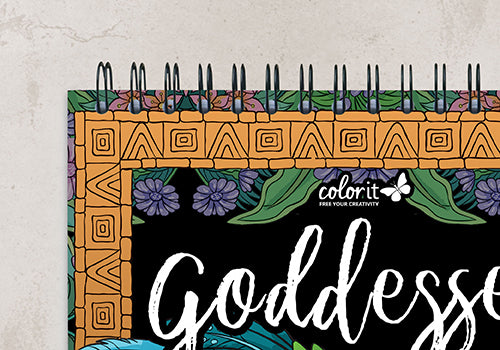 colorit goddesses adult coloring book, top spiral binding