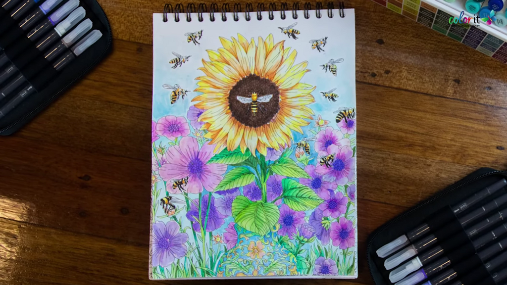 A colored sunflower page from Colorful Flowers Volume II, painted using watercolor brush pens.