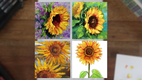 References that Arvin took from Pinterest. He will be using them to color in the sunflower page from Colorful Flowers Volume II.