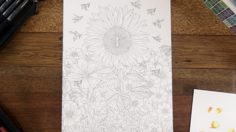 An empty page from Colorful Flowers Volume II that ColorIt's guest artist, Arvin, will be coloring.