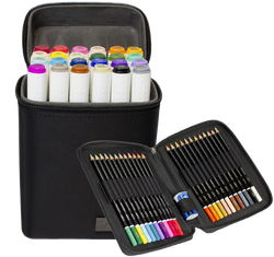 ColorIt Mini Duo - 24 Dual Tip Marker Set, 24 Colored Pencil Set