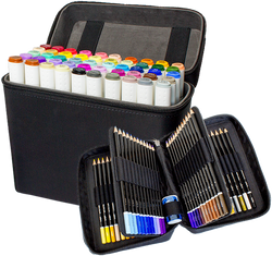 ColorIt Ultimate Duo - 50 Dual Tip Marker Set, 72 Colored Pencil Set