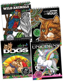 Animal Lovers Pack - Wild Animals, Cats, Dogs, Unicorns Coloring Book