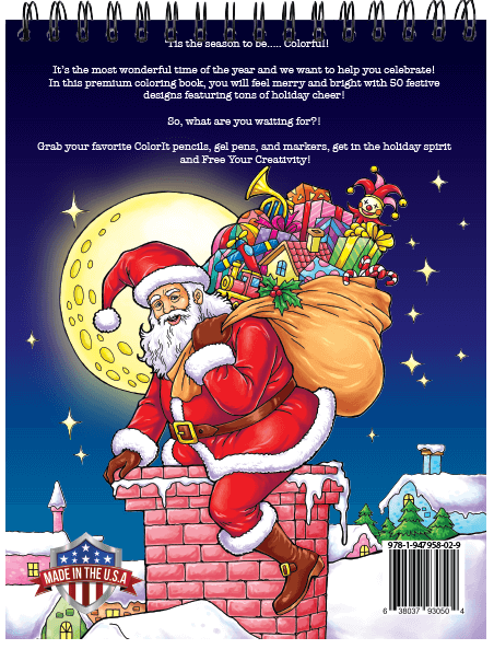 Christmas Coloring Book Hardback Covers Artist Paper By Colorit