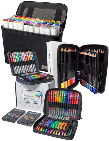 ColorIt Bundle of Joy - 48 Colored Pencils, 50 Art Markers, 96 Gel Pen Combo Pack