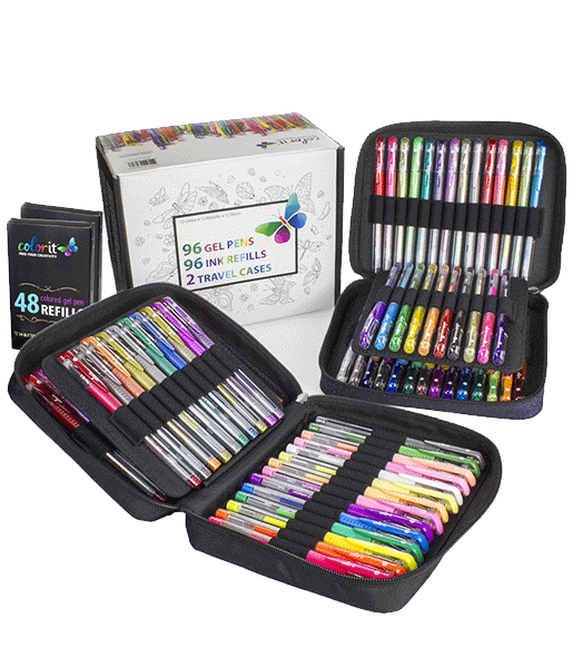 Gel Pen Combination Pack - 96 Gel Pens, 96 Ink Refills, 2 Travel Cases