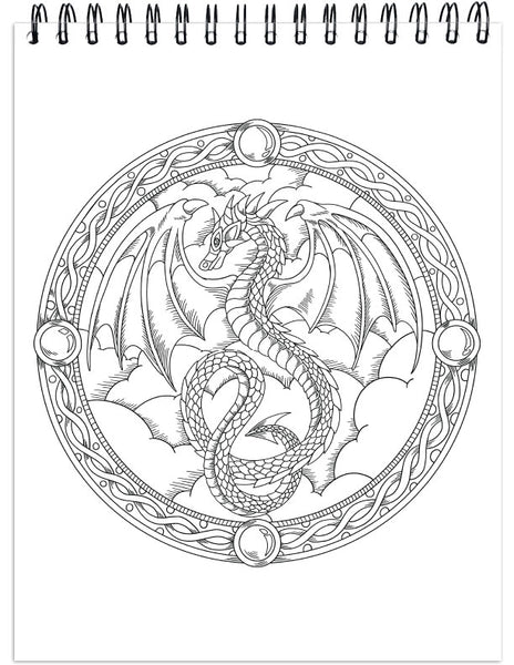 50 Single-Sided Designs USA Printed ColorIt Colorful Dragons Adult Coloring Book Thick Smooth Paper Lay Flat Hardback Covers Spiral Bound Dragon Pages to Color