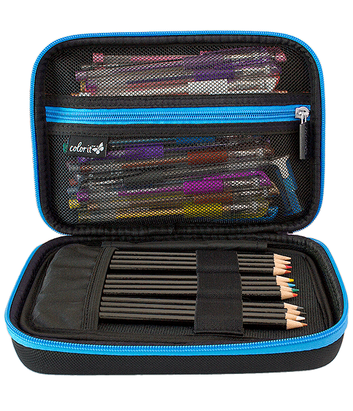 EVA Carrying Case for Multipurpose Pencils, Pens, or Markers - Blue