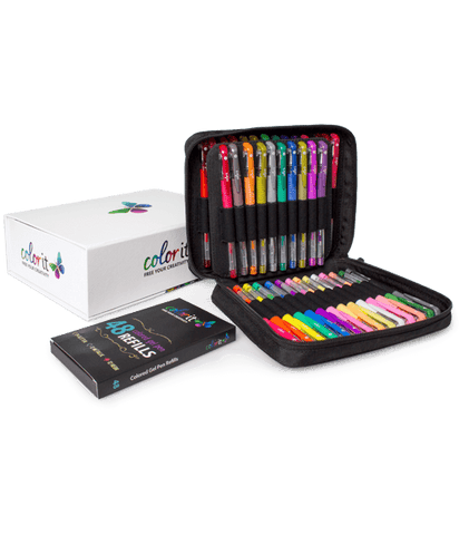 48 Colored Gel Pen Set, 48 Ink Refills, Travel Case & Gift Box