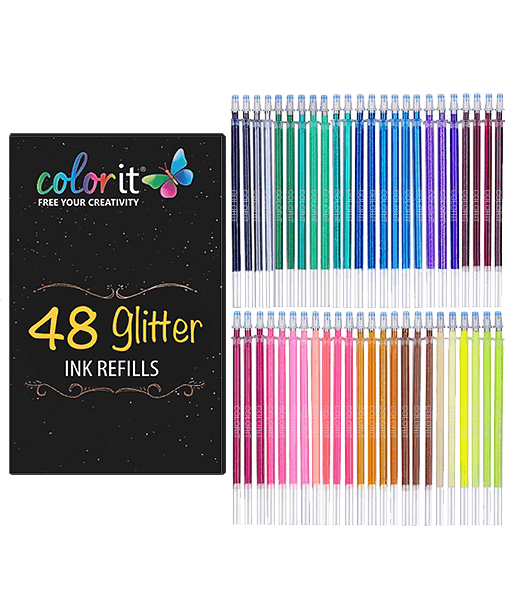 48 GLITTER Ink Refills For ColorIt Glitter Gel Pens