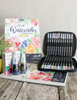 ColorIt Watercolor Collection - 24 Brush Pen Set, 24 Liquid Watercolors, Premium Paper