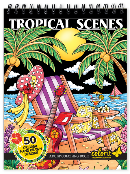ColorIt tropical scenes coloring book