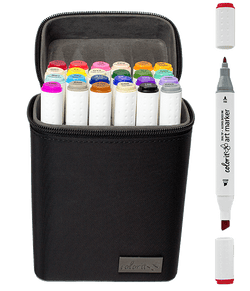 24 Color Dual Tip Art Markers with Premium Case