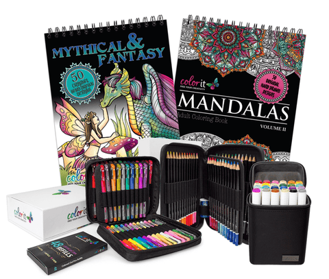 ColorIt Essentials Bundle - 2 Coloring Books, 48 Gel Pen Set, 48 Colored Pencil Set, and 24 Marker Set