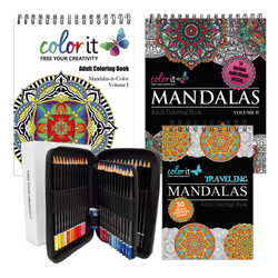 ColorIt Mandalas Galore - Mandalas to Color, Mandalas 2, Traveling Mandalas, 48 Colored Pencil Set