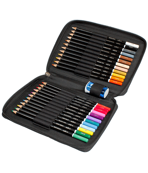 Premium 24 Colored Pencil Set With Case and Sharpener