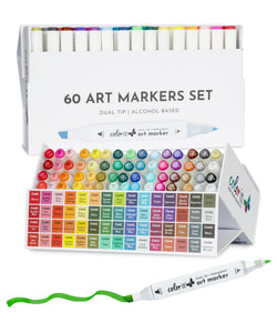 ColorIt 60 Dual Tip Art Markers Set for Coloring