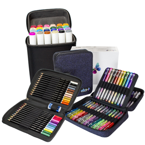 ColorIt Sampler Bundle - 48 Glitter Gel Pens, 24 Art Markers, 24 Colored Pencils