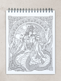 colorit goddesses adult coloring book, chinese goddess, nuwa