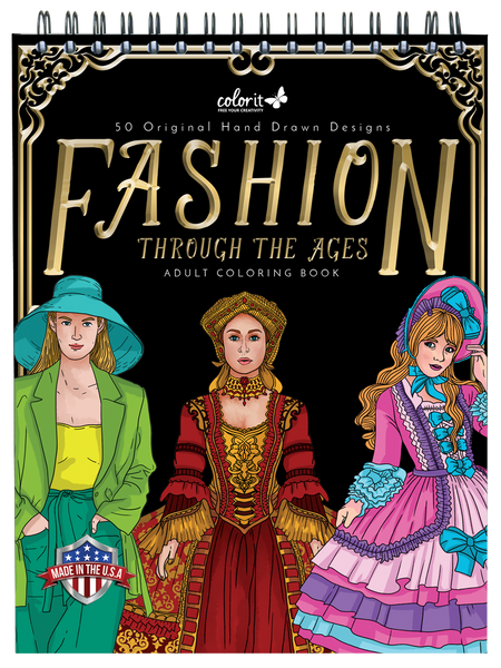 colorit fashion through the ages coloring book for adults