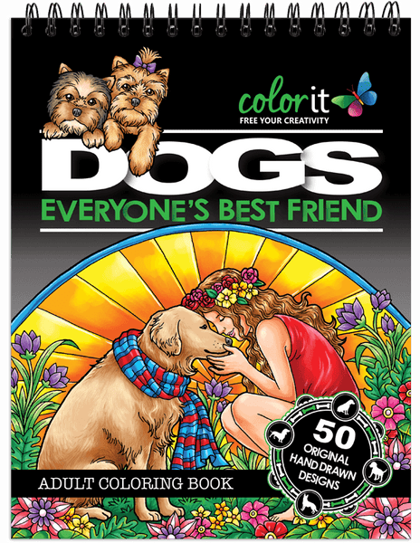 Dog Coloring Book For Adults With Hardback Covers And Spiral Binding ColorIt
