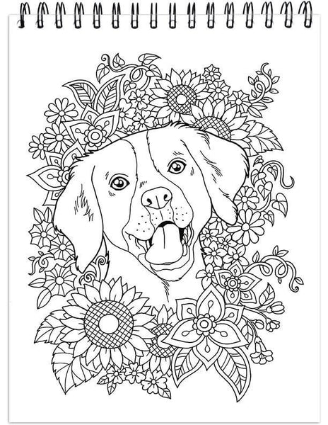 Dog Coloring Book For Adults With Hardback Covers And Spiral Binding –  ColorIt