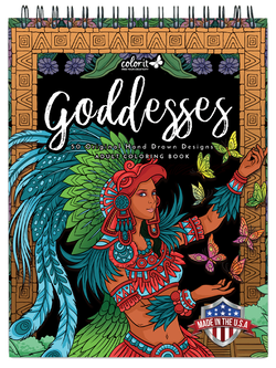 colorit goddesses adult coloring book, front cover, aztec goddess, xochiquetzal