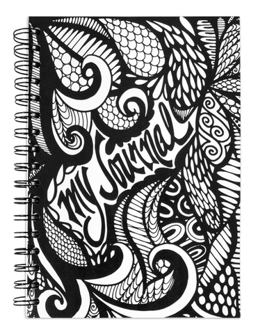 """My Journal"" Hand Drawn Black and White Spiral Notebook"